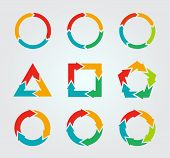 stock photo of four  - Vector circle arrows for infographic - JPG