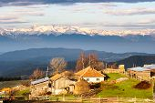 pic of mountain-high  - Sunrise over small village in Rhodope Mountain - JPG