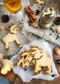 foto of christmas cookie  - cookies with ginger and chocolate - JPG