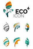 Set of abstract eco leaf icons, business logotype nature concepts, clean modern geometric design. Cr poster