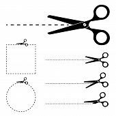 Постер, плакат: Scissors Silhouette And Cut Lines Set