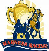 foto of sulky  - illustration on sulkies Harness cart horse racing viewed from low angle with championship cup and sunburst in background retro style - JPG
