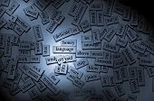 stock photo of nouns  - Moody lighting on magnetic word tiles with the focus on the word  - JPG