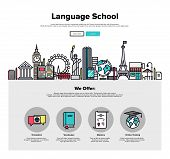 Постер, плакат: Language School Flat Line Web Graphics