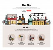 Local Bar Flat Line Web Graphics poster
