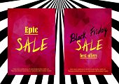 Постер, плакат: Set Of Sale Announcement Banners epic Sale And black Friday Sale Best Offers Text On Red Garnet