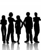 stock photo of person silhouette  - silhouette of a group of people on white background - JPG