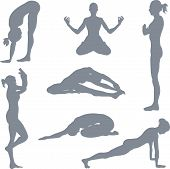 stock photo of yoga silhouette  - illustrations of a set of yoga postures silhouettes. 