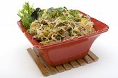 image of pancit  - Pancit in a Red Ceramic dish with Garnish - JPG