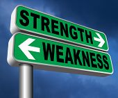 strength or weakness strong or weak points overcome problems accept the challenge to success 3D, ill poster