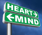 heart over mind follow your instinct and gut feeling or intuition insight 3D, illustration poster