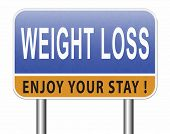 weight loss lose extra pounds by sport or dieting losing overweight kilos and stop obesity road sign poster