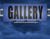 gallery wall of picture and image and art exhibition, road sign billboard 3D, illustration  poster