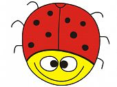 picture of fanny  - Fanny ladybug with big smile on white background - JPG