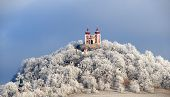 foto of banska  - Calvary in Banska Stiavnica with winter hoarfrost on the trees - JPG