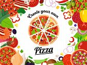 Vector Pizza Illutration With Slices And Many Ingredients poster