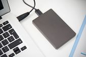 External Backup Disk Hard Drive Connected To Laptop poster