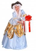 foto of marquise  - Woman in ancient dress of marquise with gift box decoration red bow - JPG