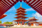 Osaka, Japan - October 28 2018: Shitenno-ji Temple Founded In 593, Its The First And Oldest Officia poster