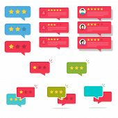 Review Rating Bubble Speeches Set Vector Illustration, Flat Cartoon Reviews Stars With Good And Bad  poster