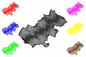 Satu Mare County (administrative Divisions Of Romania, Nord-vest Development Region) Map Vector Illu poster