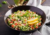 Tabbouleh Salad. Traditional Middle Eastern Or Arab Dish. Levantine Vegetarian Salad With Parsley, M poster