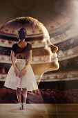 Dreams Of Little Girl To Be A Ballerina, Creative Collage. Young Female Model Dreaming About The Big poster
