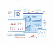 Statistics Presentation. Monitoring And Analysis Statistical Data. Graphs, Charts, Diagrams, Infogra poster