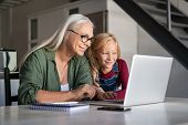 Happy grandchild and old grandmother sitting at home using laptop. Smiling cute girl and senior woma poster
