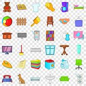Comfort Indoor Icons Set. Cartoon Style Of 36 Comfort Indoor Icons For Web For Any Design poster