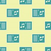 Green Music Book With Note Icon Isolated Seamless Pattern On Yellow Background. Music Sheet With Not poster
