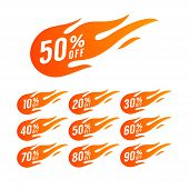 Sale Discount Banner. Discount Offer Price Tag. Special Offer Sale Hot Fire Sign, Promotion Fire Ban poster