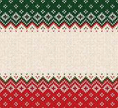 Ugly Sweater Merry Christmas Ornament Scandinavian Style Knitted Background Seamless Frame Border poster