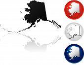 stock photo of the united states america  - State of Alaska Icons in Red White and Blue - JPG