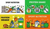 Sport Nutrition Banner Set. Outline Set Of Sport Nutrition Banner For Web Design poster