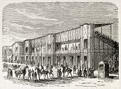 Weighing area in Vincennes racecourse, old illustration, France. Created by Gaildrau, published on L