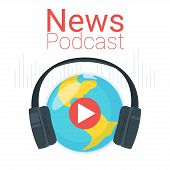 News Podcast Color Vector Illustration. Earth Globe With Headphones Poster Typography. Planet With P poster