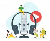Young People In Headset Listening To Music Flat Vector Illustration. Youth In Radio Studio Recording poster