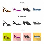 Isolated Object Of Footwear And Woman Symbol. Collection Of Footwear And Foot Bitmap Icon For Stock. poster