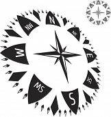 stock photo of sail-boats  - Black illustration of compass - JPG