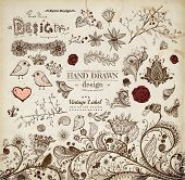 foto of hand drawn  - Hand Drawn floral ornaments with flowers and birds  - JPG