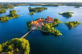Trakai Castle In Lithuania Aerial View. Green Islands In Lake In Trakai Near Vilnius. Trakai Drone V poster