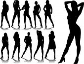 stock photo of stripper shoes  - woman silhouettes 5 - JPG