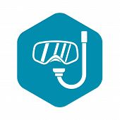 Goggles And Tube For Diving Icon. Simple Illustration Of Goggles And Tube For Diving Vector Icon For poster
