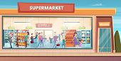 Supermarket Facade. People Shopping In Product Hypermarket Grocery Food Store With Male And Female B poster