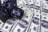 The Camera Is On The Money - Online Earnings On The Photo. Euro, Dollar. Background. poster