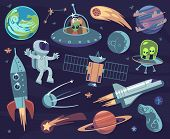 Cartoon Space Set. Cute Astronauts And Ufo Aliens, Satellite Planets And Stars. Meteorite And Spaces poster