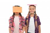 Being Genius For Hard Study. Genius Schoolchildren Isolated On White. Small Girls Holding Books On H poster