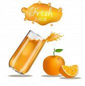 Orange Juice Splash.  Splashes Of Glass Orange. Orange Juice Advertising Realistic Design. Isolated  poster
