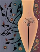 stock photo of pubic  - A Nude Female Figure is Featured in an Abstract Vector Illustration - JPG